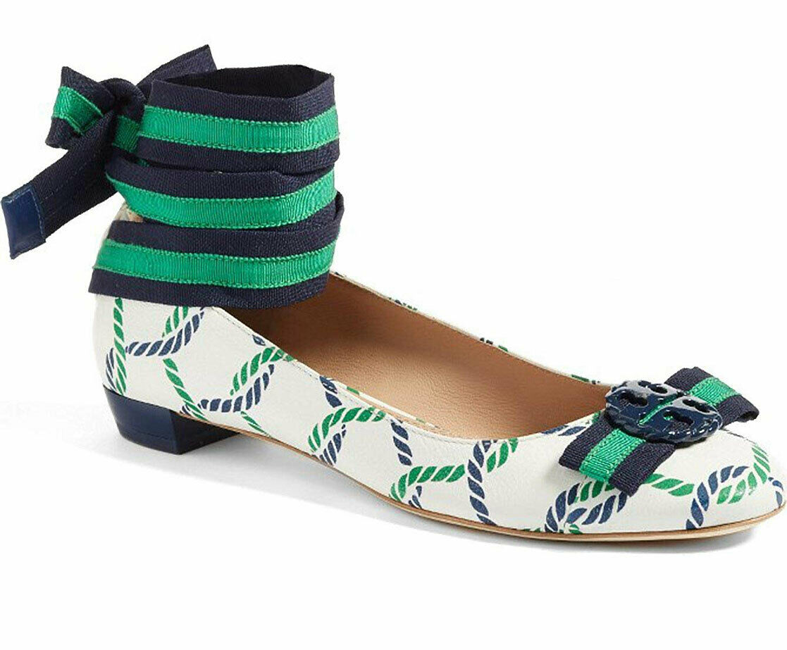 Tory Burch Maritime Ankle Wrap Flats Isle Ribbon Ballerina Bow shoes 7