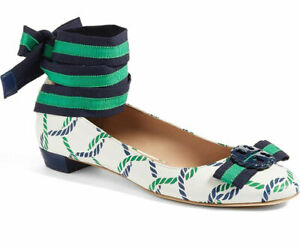 d48ceca32b Image is loading Tory-Burch-Flats-Maritime-Ankle-Wrap-Ballet-Shoes-