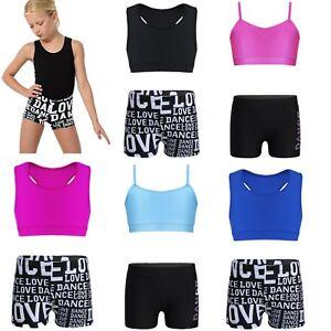 Girls Kids Ballet Dance Crop Top+Shorts Set Gymnastics Workout Training Clothes