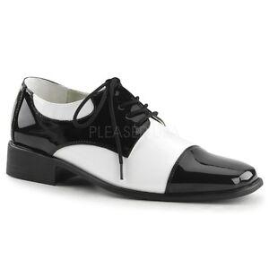 Funtasma-1-5-034-Heel-Black-White-Oxford-Wing-Tip-Retro-Laceup-Shoes-Mens-8-14