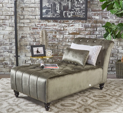 Peachy Grey Velvet Chaise Lounge Chair Day Bed Sofa Bedroom Tufted Loveseat Furniture 762792578647 Ebay Forskolin Free Trial Chair Design Images Forskolin Free Trialorg
