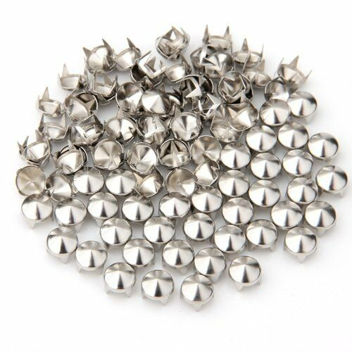 100 Silver Copper Round Cone Rivet Spike Studs Spots DIY 8mm