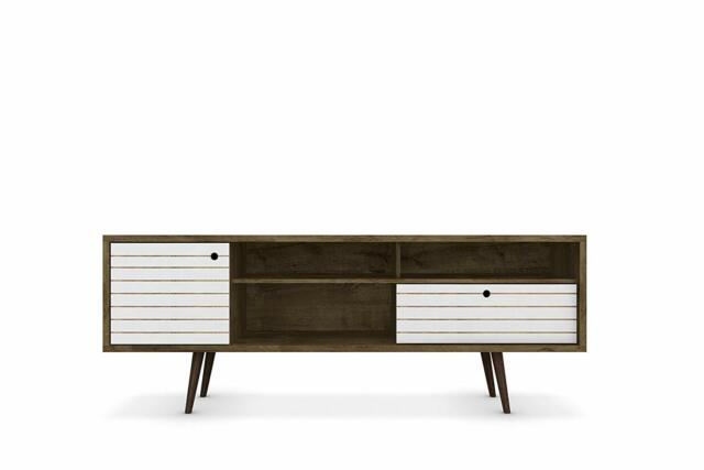 1 Drawer 1 Cabinet Manhattan Comfort Liberty TV Stand w// 3 Shelves White//Wood