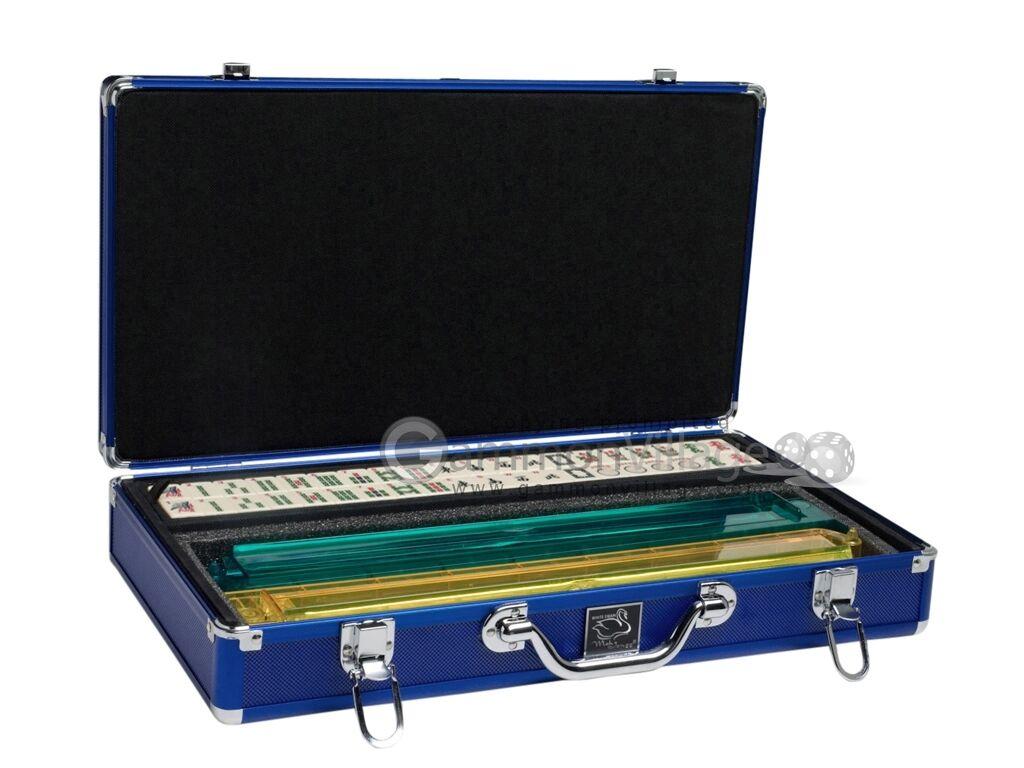 Bianca Swan Mahjong Set - Ivory Tiles  (Modern Pushers) - blu Aluminum Case  ordina ora goditi un grande sconto