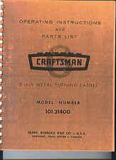 Craftsman 101 Metal Lathe Manual Maintenance, Parts