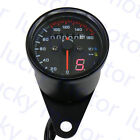 Motorcycle Universal Dual Odometer KMH Speedometer Gauge LED Backlight Signal