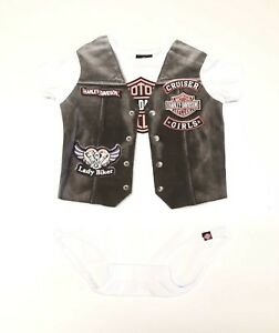 Harley-Davidson-Infant-Baby-Newborn-Girl-White-Leotard-With-Print-Of-Black-Vest
