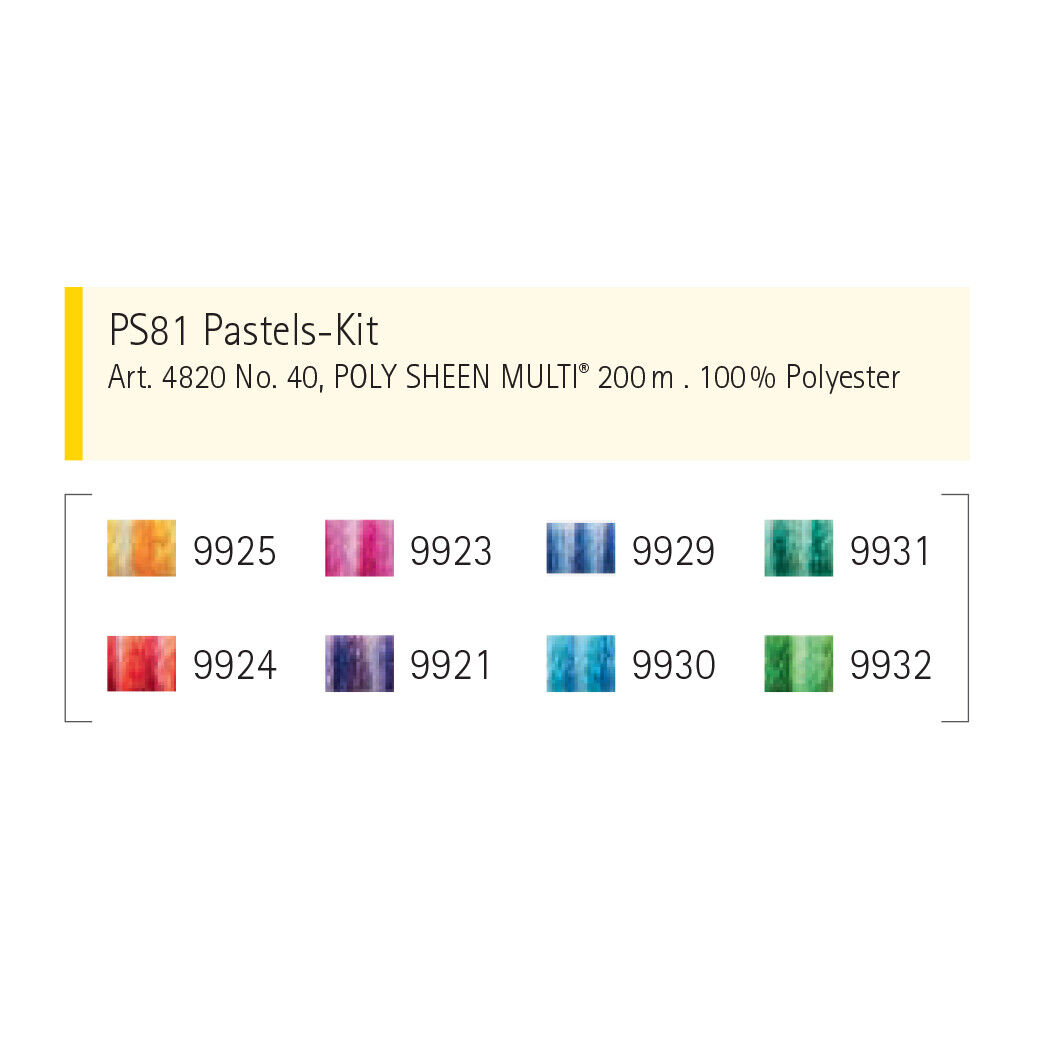 Mettler Poly Sheen Multi Color 875 yards Pack of Four No 2