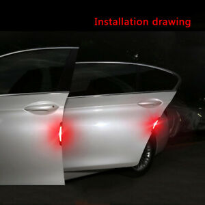 4x-Red-Safety-Reflective-Tapes-Warning-Car-Door-Sticker-Accessory-Carbon-Fiber