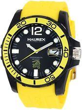 Haurex Men's N1354UNY Caimano Black Dial Luminous Yellow Rubber Date Watch