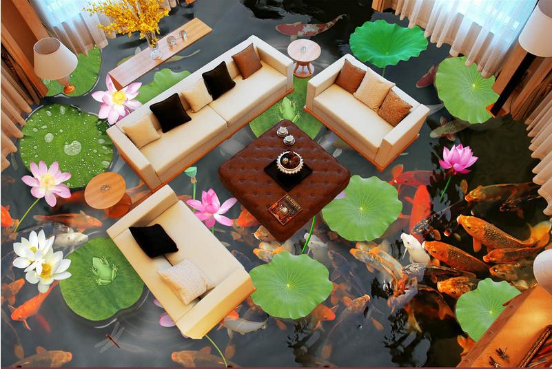 3D Lotus Pond rot Koi 73 Floor WallPaper Murals Wall Print Decal AJ WALLPAPER US