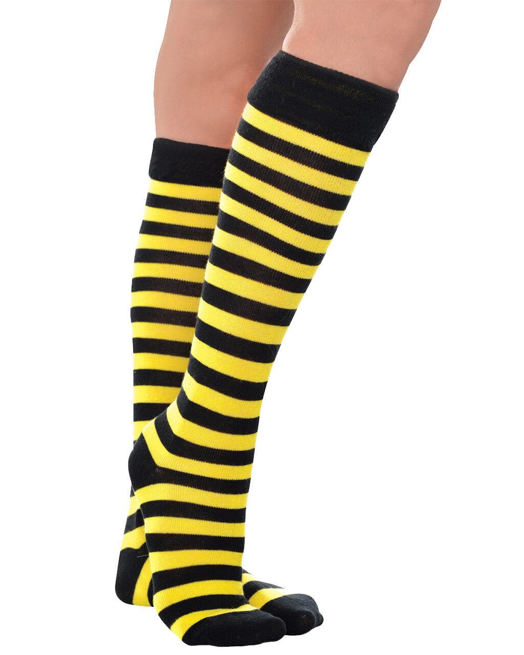 Adult Over The Knee Bumble Bee Super Hero Socks Halloween Fancy Dress Costume