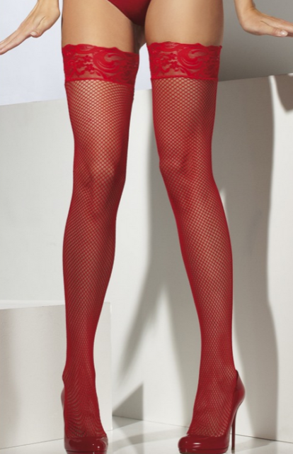 White Lace Fishnet Hold Ups Ladies Fancy Dress Accessory Stockings One Size