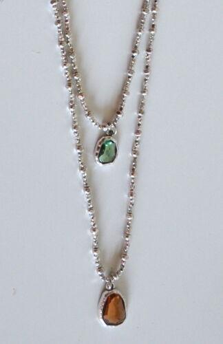 Dos collar largo de hilo algodón con colgante de crystal hecha a mano