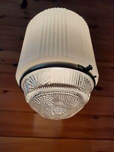 Antique 1920 S 30 S grand art deco suspension Verre Plafonnier/Lampe Luminaire, Metro