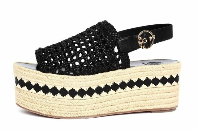 Tory Burch DANDY Espadrilles Flat Sandals Woven Leather Wedges Pumps 8.5
