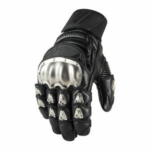Icon Mens Timax Short Gloves Leather With Titanium Protection Motorcycle Glove Ebay