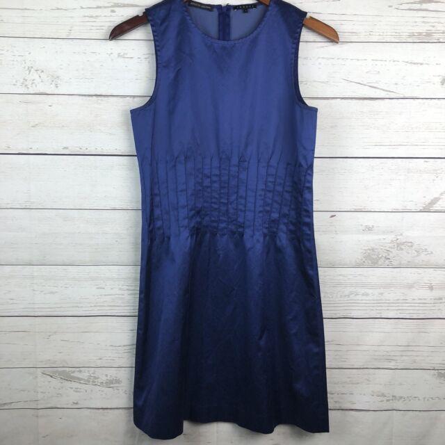 Theory Bergdorf Goodman Women's Size 4 Sheath Dress Blue Satin Sleeveless Career