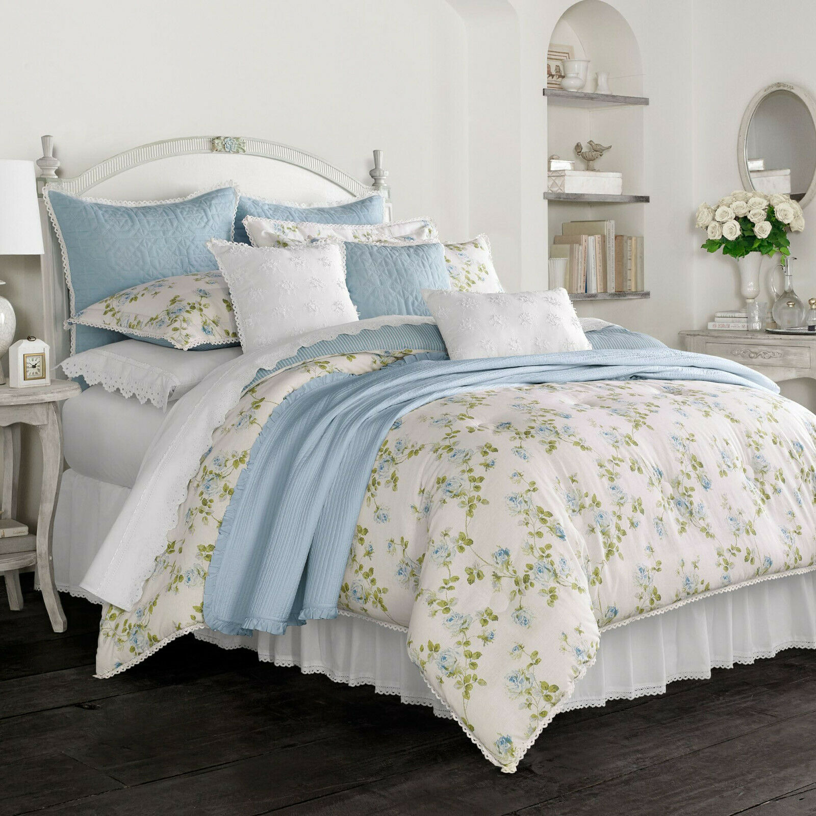 PIPER AND WRIGHT  535 NEW King Comforter Set 4PC pinkLIE blueE FLORAL