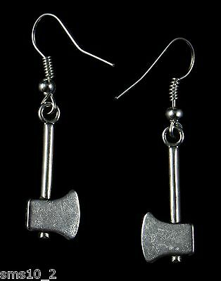 Hand Made  Silver Colour Axe Earrings HCE245