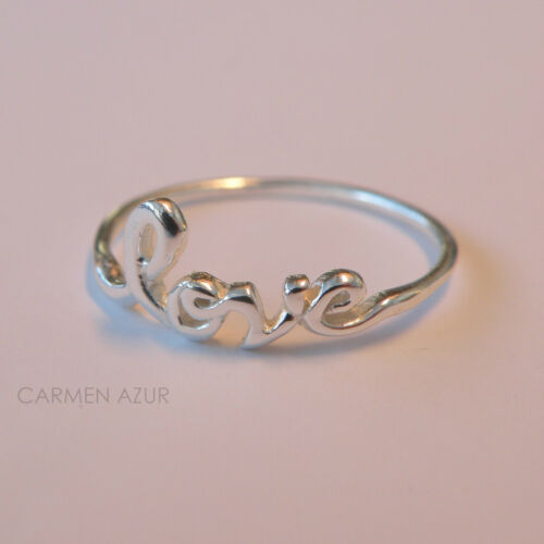 Gift Bag Solid 925 Sterling Silver Ring LOVE Word Size K,L,L,1//2,M,N Ladies New