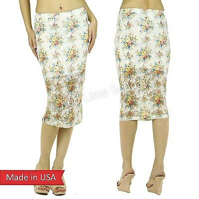 Sweet Valentine Outfit Color Floral Embroidered Mesh Retro Print Pencil Skirt US