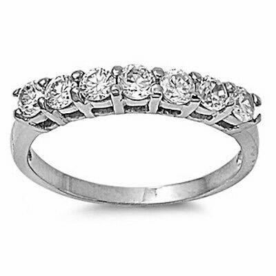 LADIES 7 ROUNG CZ PRONG SET WEDDING BAND 316L Stainless Steel Ring SIZES 5-10