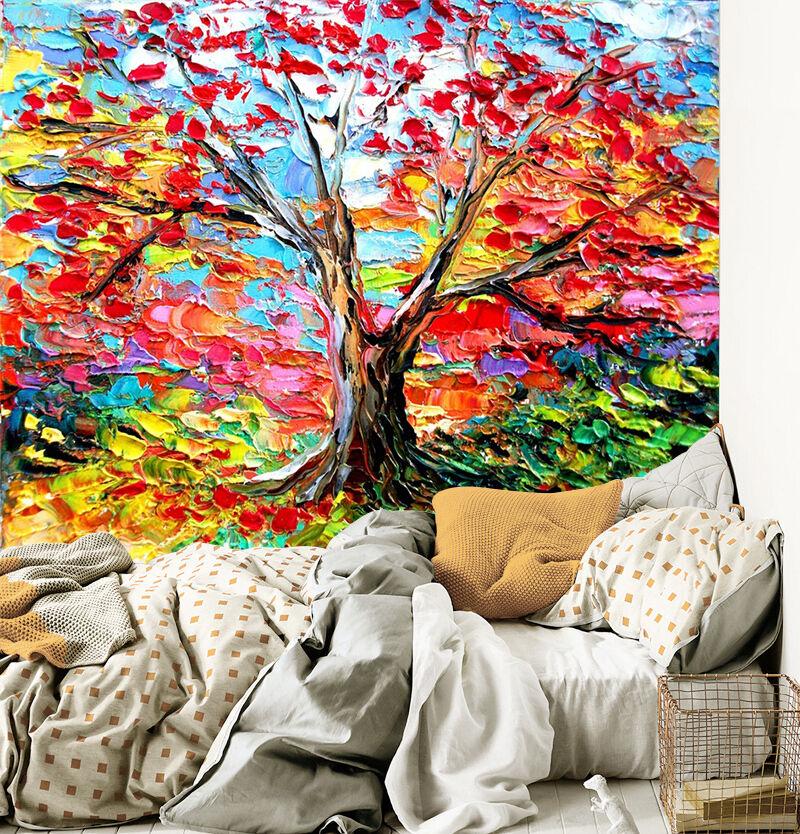 3D Foraison Arbre 5 Photo Papier Peint en Autocollant Murale Plafond Chambre Art