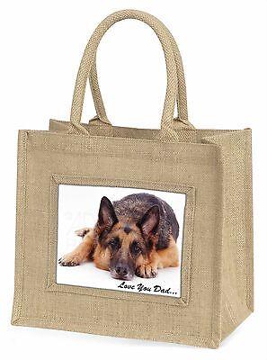 German Shepherd 'Liebe dich Papa' Große Natürliche Jute-einkaufstasche Ch,