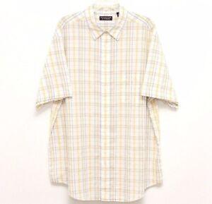 Roundtree-amp-Yorke-Mens-Yellow-Blue-Plaid-Short-Sleeve-Shirt-Size-X-Large