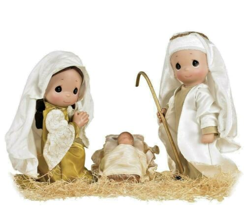 "Precious Moments Christmas Doll Set THE FIRST CHRISTMAS Nativity 9/"" Dolls"