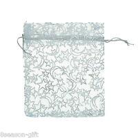 25pcs 10cmx12cm White Star& Moon Organza Gift Pouch Bags Wedding X-mas Favor
