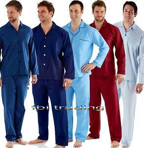 Mens-Plain-Poly-Cotton-Pyjama-PYJAMAS-Traditional-Harvey-James-Brand