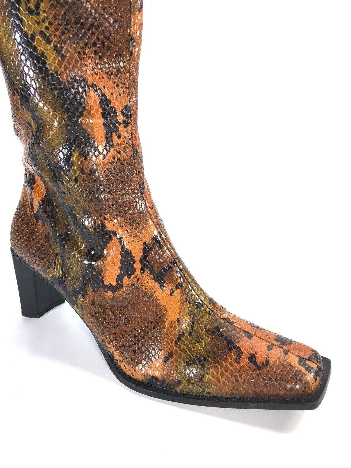 Cordani Cordani Cordani orange Snakeskin Mid Calf Boot Size 9 Made in  Runs Small 7.5 or 8 3b0a13