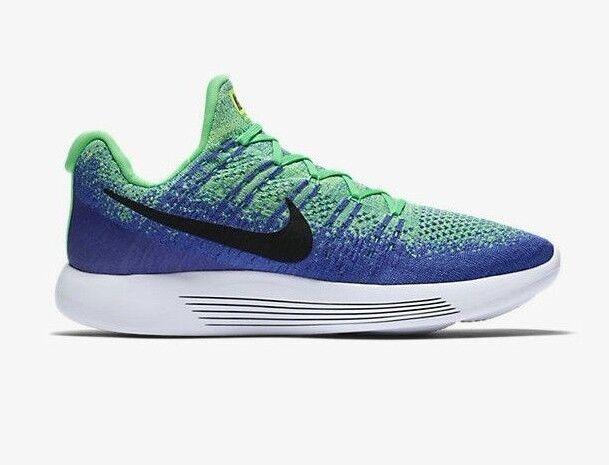 Nike lunarepic basso flyknit 2 dimensioni noi uomini blu, scarpe da corsa