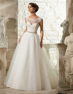 Illusion Lace Appliqué tulle A-line wedding dress, UK tailor made to measure