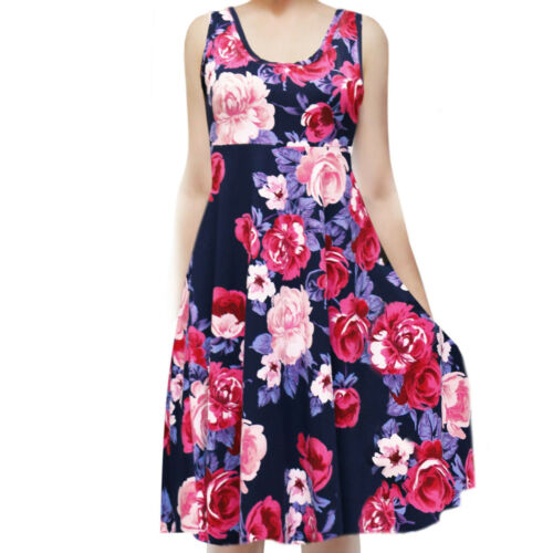 USA Women/'s Sleeveless Flowy Midi Summer Beach A Line Tank Dress S M L 1X 2X 3X