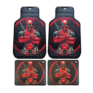 New Set Marvel DeadPool Car Truck Front / Rear Back Vinyl Rubber Floor Mats