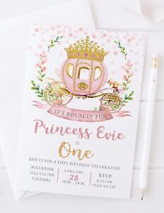 Image Is Loading 10 GIRLS PRINCESS FIRST BIRTHDAY PARTY INVITATIONS ROSE