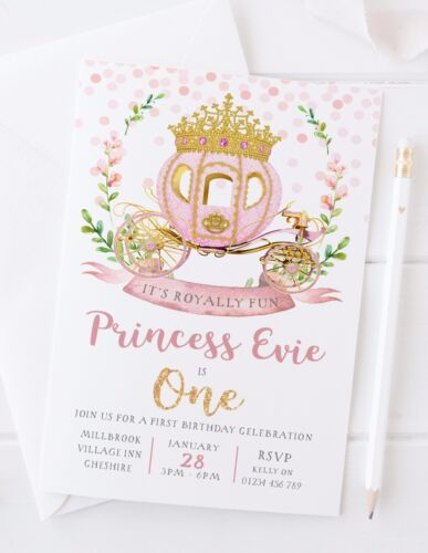 10 GIRLS PRINCESS FIRST BIRTHDAY PARTY INVITATIONS ROSE GOLD PINK