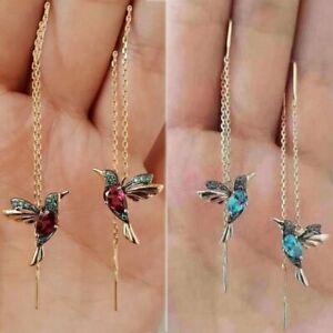 Wholesale-Hummingbird-Earrings-Stud-Threader-Long-Drop-Tassel-Crystal-Dangle-Hot