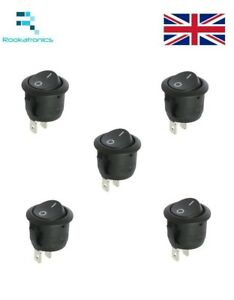 New-14mm-Diameter-16mm-Lip-Small-Round-Rocker-Switch-Black-2-Pin-ON-OFF