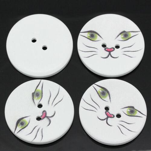 5 De Madera Gatos Grandes enfrentan Diseño Botones de Costura Manualidades 40mm