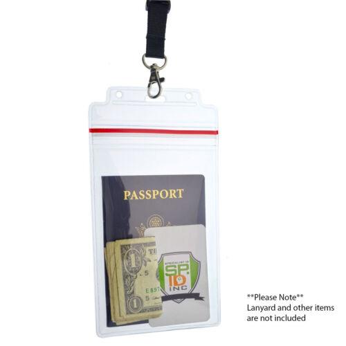 Extra Large 4X6 Badge /& Passeport ID Porte-imperméable avec auto-adhésive Fermeture Éclair Top