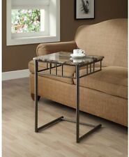 TV Tray Table Snack Slide Under Sofa Couch Metal Gray Furniture Living Room