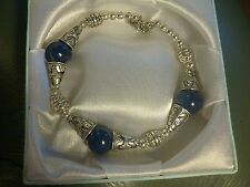 "CB36 Tibetan silver bracelet - Lapis Lazuli beads - 7.5""-8"" BOXED Plum UK"