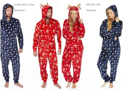 Unisex Soft Fleece Xmas Christmas Hooded Jumpsuit All in One Snowman Gingerman