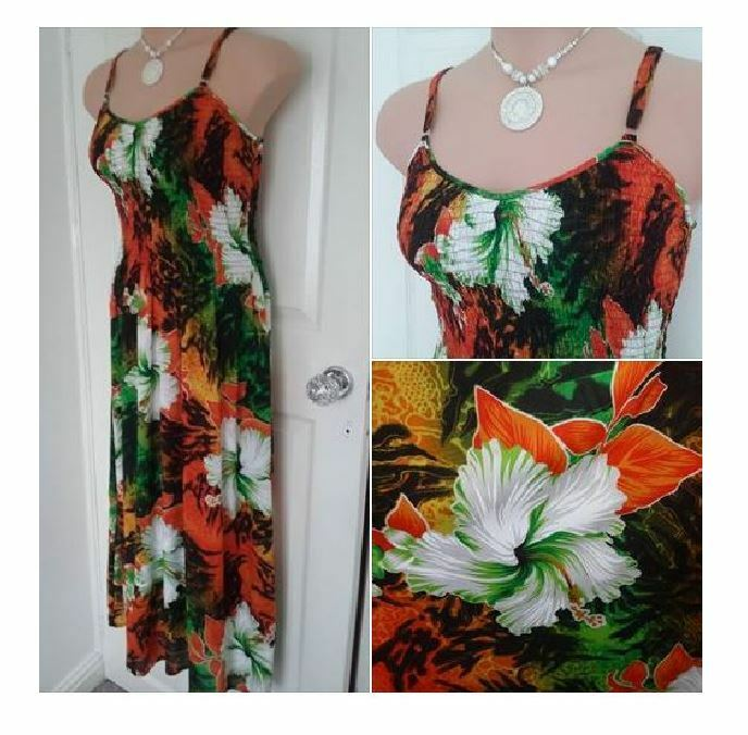 FRANKEN WHITE GREEN orange Thin strap SUMMER MAXI DRESS HOLIDAY Plus SIZE 12 14