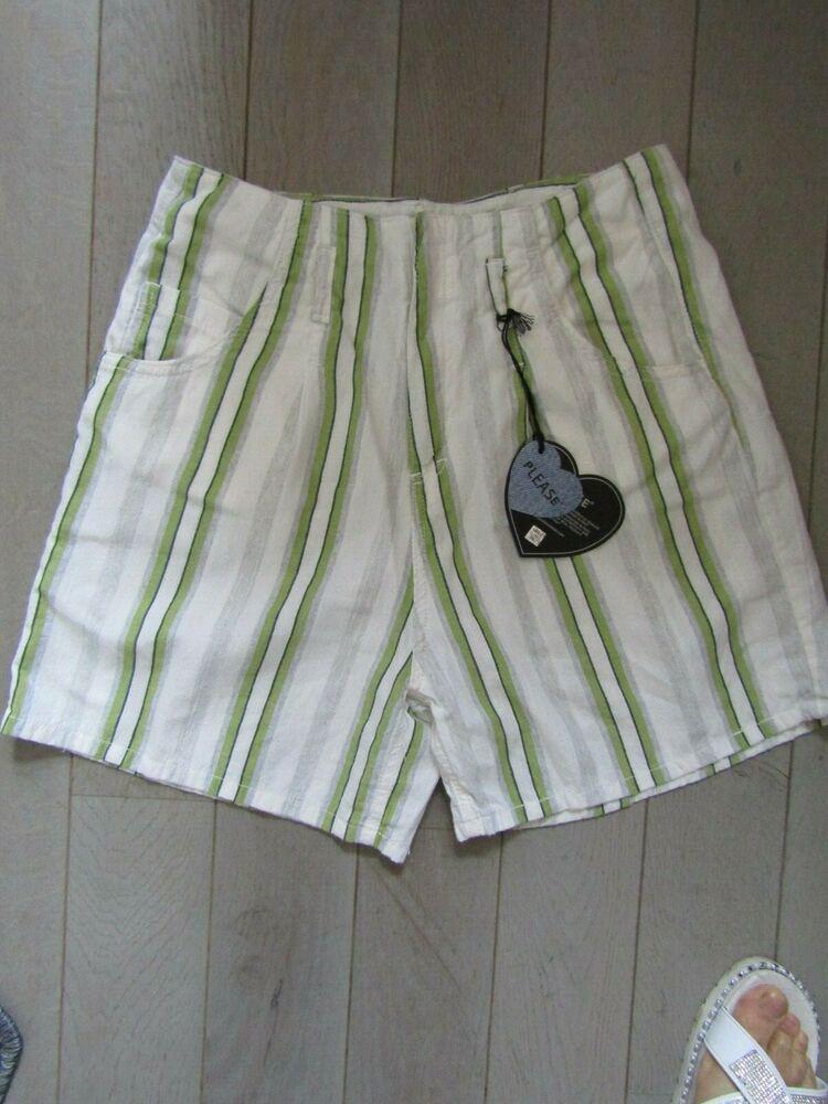"""please"" Short Court Taille Haute 15% Lin 85% Viscose T.xs = 34/36 V/mesures"