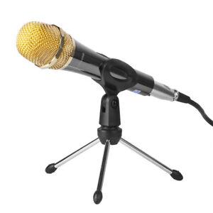 Table-Microphone-Tripod-Stand-Adjustable-Metal-Desktop-Mic-Clamp-Clip-Holder-MIR